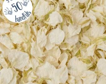 5 Litres approx 50 guests Natural Wedding Confetti Eco-Friendly Biodegradable Dried Delphinium Petals Vanilla, Cream, Ivory