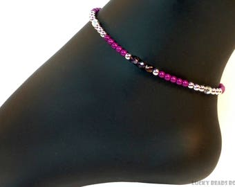 Ankle bracelet beaded anklet womens ankle bracelet ankle jewelry beach anklets fuchsia anklet beaded jewelry womens gift BA-05-13