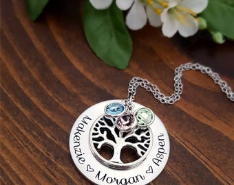 Personalized Family Tree Necklace | Birthstone Necklace | Family Tree Necklace For Mom | Grandmothers Necklace | Birthstone Necklace For Mom