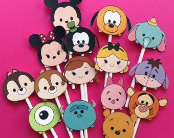 Tsum Tsum Disney inspired cupcake toppers, tsum tsum party, Disney party, tsum tsum birthday, tsum tsum party supplies