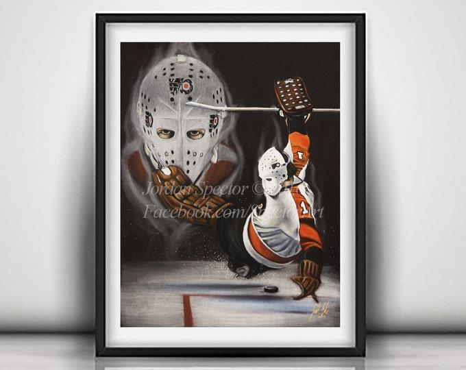 Philadelphia Flyers - Bernie Parent Art Print - Philadelphia Art - Man Cave Art - Flyers Painting - Dorm Decor - Flyers Fans - Flyers Hockey