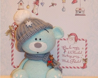 TurquoiseTeddy Bear  with a cap and scarf
