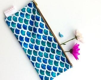 Mermaid Scales, Pouch, Pencil Case, Mermaid, Pencil Case, Nautical, Summer, Clutch bag, Blue, Fish, Small Bag, Cosmetic Bag, Toiletries, bag