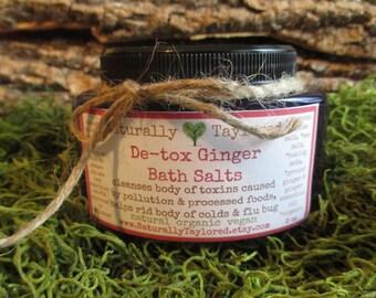 Detox Bath Salts 8 oz All Naturall De-Tox Ginger Bath Salts Detox De-Tox Bath Salt Natural Bath Salt Organic Bath Salt Ginger body detox