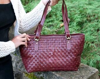 Leather tote purse - handmade handbags - small leather tote bag for teacher - handbag leather - tote bag leather - christmas gift - |ma|