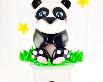 Panda Led Night light with light detector,decoration, panda fimo, kids night light