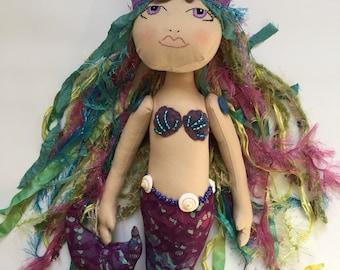 Mermaid Doll, Handmade doll, gifts for girls, Cloth doll, Mermaid crown, fiber art doll, fabric doll, designer doll, poppet, fashion