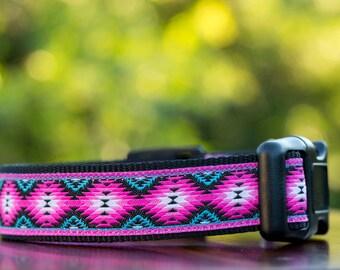 Pink Navajo Dog Collar / Dog Collars Australia / XS-XL /