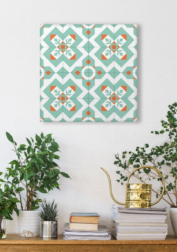 Ceramic Tiles Canvas, Modernist Wall Art, Canvas Print, Square Prints, Wall Decoration, Geometric Art Print