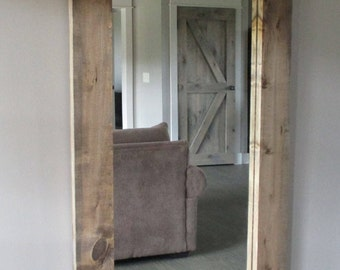 Large Oversized Mirror With Rustic Wood Frame