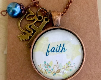 """CLEARANCE// One word """"Faith, Blessed, Hope, Joy, Love, Grace"""" in a Laurel Glass Pendant Necklace with charms"""