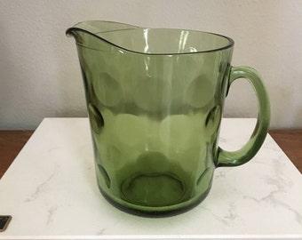 Vintage Green Polka Dot Pitcher Mid Century
