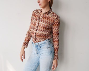 SALE! Semi Sheer Golden Brown Zig Zag Patterned Long Sleeve