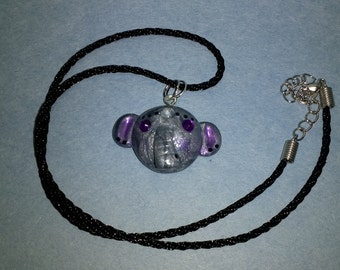 Silver and purple, polymer clay, elephant, pendant, necklace