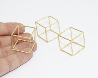 1 Pcs 25mm Raw Brass Cube Pendant, Raw Brass Cube Necklace, Open Cube Beads, SOM12