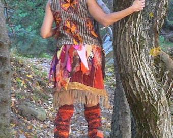 woolen jacket with dreamcatcher patchwork