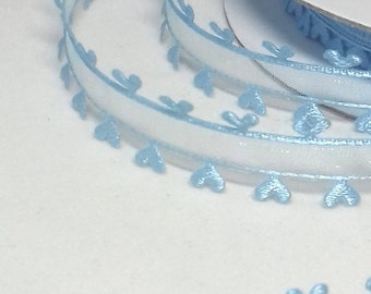 1 Metre Light Blue Sheer Heart Edged 15 mm Ribbon, Baby Blue, Organza & Satin Stitched Edged Ribbon, Pastel Blue Heart Edged Sheer 15 mm