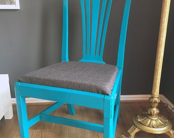 Blue Upcycled Dining Chair - Hand Painted to Order
