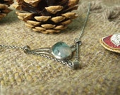 "Moss Agate & Sterling Silver ""Winged"" Pendant with Scrolls. Oval Cabochon. Hallmarked. Great Christmas Gift for Her"