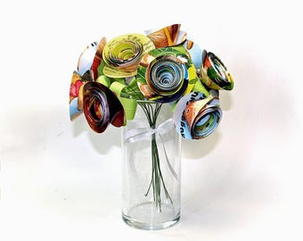 Paper Flowers, Flower Bouquet, Set of 12, Flowers with Stems, Paper Anniversary, Large Flowers, Kid's Book Flowers, Bright and Colorful