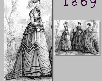 Riding Habit (Bodice, skirt and trowsers) -  Victorian Reproduction PDF Pattern - 1860's - made from original 1869 Harpers Bazar pattern