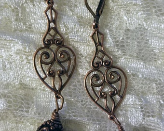 Victorian Reproduction Filigree Dangle Earrings Copper