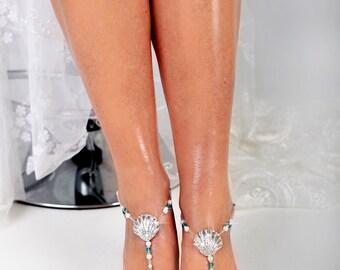 Seashell Beaded Barefoot Sandals, Anklet, Beach wedding Starfish Barefoot Sandal, Bridal Barefoot Sandals, footless sandal