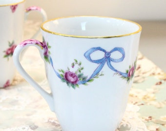 VSC Hand-Painted Mug with French Roses and Ribbons