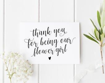 Thank You Flower Girl Card, Pretty Flower Girl Card, Wedding Thank You Card, Calligraphy Flower Girl Card, Niece Wedding Card, Bridesmaid