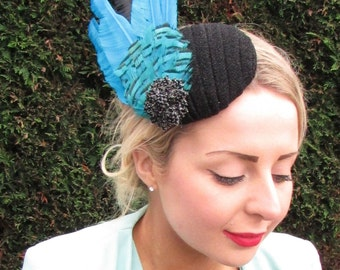 Turquoise Blue Black Statement Feather Fascinator Races Ascot Hat Headpiece 1591