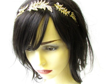 Silver Gold Leaf Hair Vine Bridal Headband Headpiece Leaves Tiara Grecian 1982