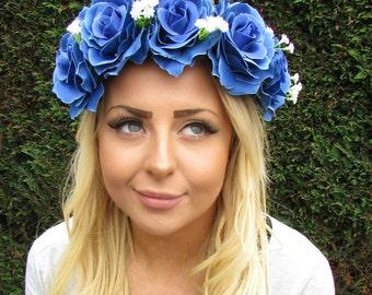Large Blue Cream White Baby's Breath Gypsophila Rose Flower Headband Boho 2015