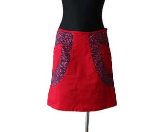 Vintage Red Purple Cotton A Line Skirt Size M