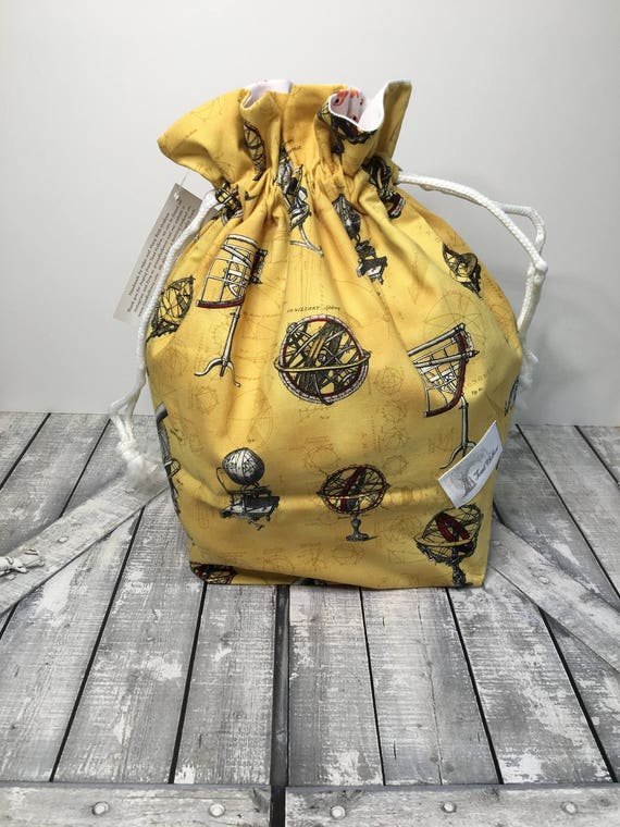 Knitting Bag - Drawstring Project Bag,astronomy Knitting Project Bag,box bottom drawstring Bag,Project Bag,Toad Hollow Bags,ToadHollowNJ