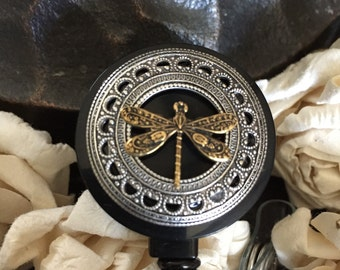 Dragonfly gift, Dragonfly name badge holder, badge reel, badge clip