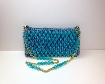 Vintage Turquoise Beaded Purse, Vintage Beaded Purse, Turquoise Gold Evening Purse, Bags by Donna, Blue Bead Evening Purse, Turquoise Purse