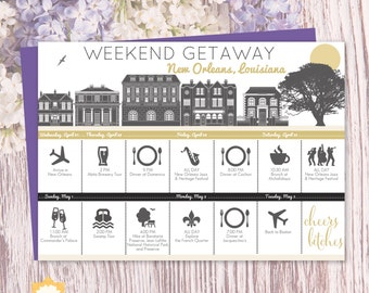 New Orleans Trip Itinerary Printable, Custom Itinerary, Bachelorette Itinerary, Vacation Itinerary