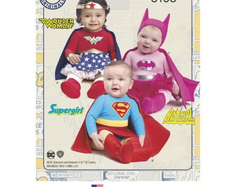 Pattern 8193 Babies'  Girls Super Hero Costumes, Wonder Woman, Supergirl and Batgirl. Size  XXS-L.