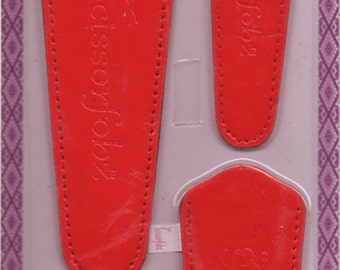 Scissors sheaths -VALUE PACK-4 sizes/pk- Designer Covers w/ScissorGripper Sewing Quilting Embroidery. Lipstick Red. S-22. Free Shipping.