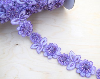 "18"" Iris Purple Lilac Beaded Lace Trim with Sequins. Embroidered Base and Artfully beaded.  1.5"" in Width."