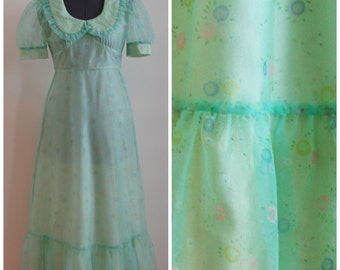 Vintage 1960's SeaFoam Green Full Length Flocked Chiffon Junior Prom Made in Canada Prom / Evening Gown / Bridesmaid Dress