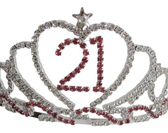 21st Birthday Diamante Crystal Tiara - Silver Plated Finish 21st Birthday Gift 21st Ideas