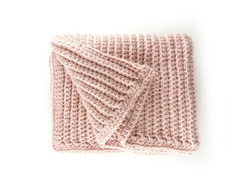 Crochet Baby Blanket - Powder Pink Wool – Crochet Big Afghan – Bed End Throw – Chunky Wool Blanket – Handmade Throw – Crochet Blanket Chunky
