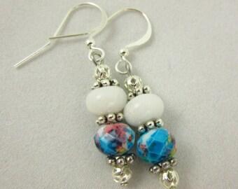 Glass Earrings, Dangle Earrings, Handmade Earrings, Beach Jewelry, Resort Jewelry, Glass Jewelry, Silver Jewelry