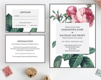 Vintage rose wedding invitation set, printable invitation suite, Invitation, RSVP, Information, Vintage Rose | Editable printable template