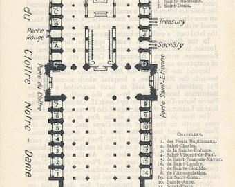 1938 Notre-Dame, Paris France Antique Map