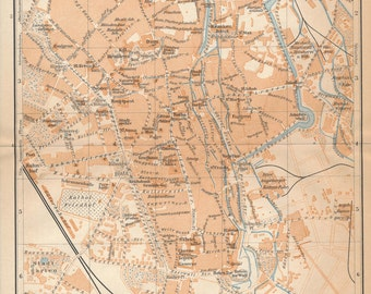 1929 Augsburg Germany Antique Map