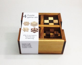 4 PUZZLE GAMES SET, wooden game set. handmade puzzle, handmade game, handmade gift.