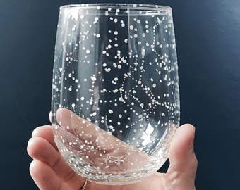 Starry Stemless Wine Glass - 1 Handpainted Star Constellation Wineglass - Custom Order Your Own!
