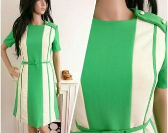 Vintage 60s Two Tone Green Wool Belted Mini Shift Dress Mod Scooter / UK 10 12 / EU 38 40 / US 6 8